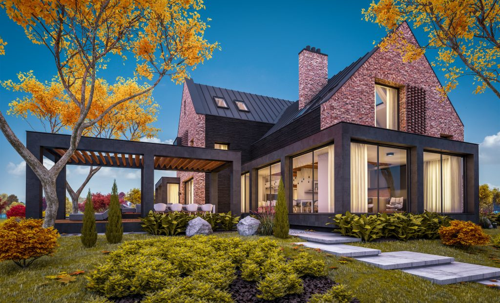 3d rendering of modern cozy clinker house on the ponds with garage and pool for sale or rent with beautiful landscaping on background. Soft autumn evening with golden leafs anywhere.
